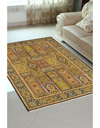 Gold Qum Persian Design Silk Small Area Rug