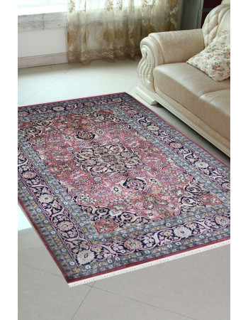 Pink Medallion Traditional Pure Silk on Silk Carpet