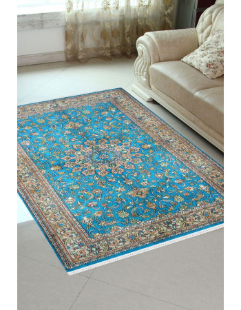 Turquoise gold Ardabil handknotted silk carpet