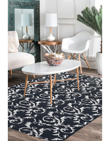 Black Beauty Handknotted Wool Modern Area Rug