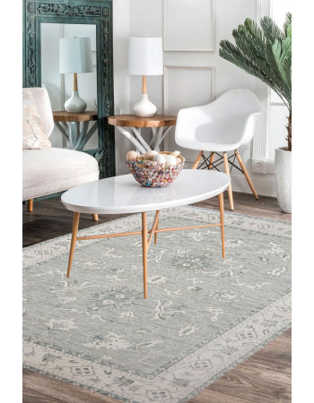 Lotus Gray Handknotted Beautiful Modern Rug