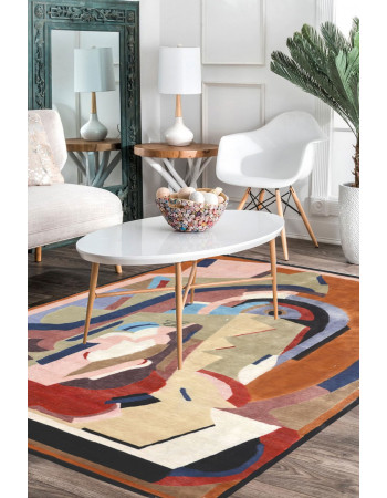 French Contemporary Modern Woolen Area Rug