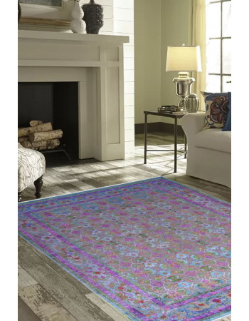 Purple Fuzz Sari Silk Handmade Carpet