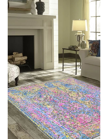 Fuschia Design Beautiful Sari Silk Rug