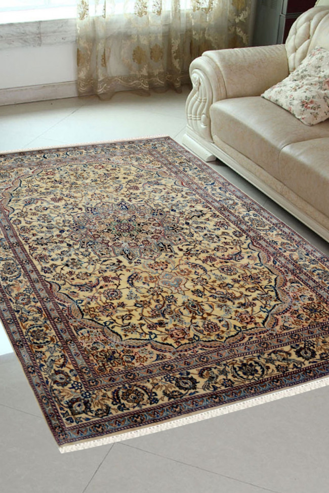 Ivory Oval Medallion Pure Persian Wool Rug
