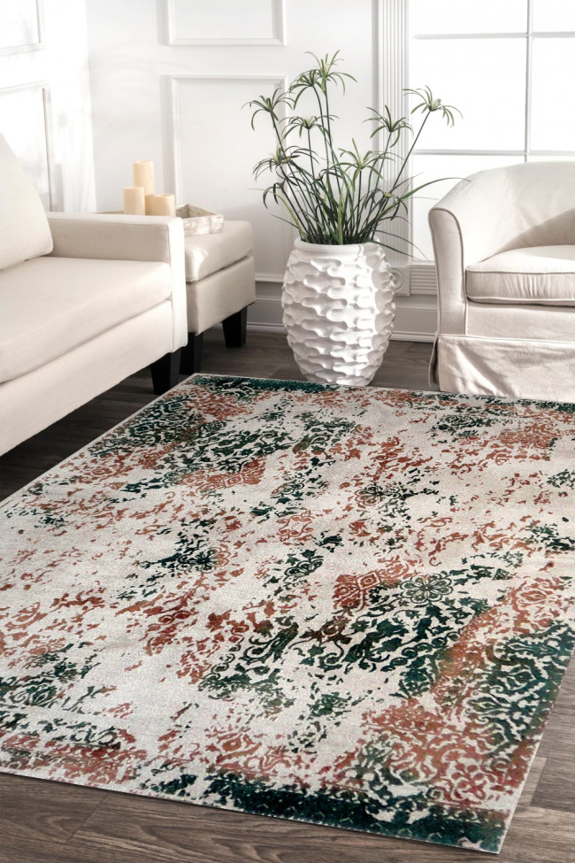 Erased Floral Tings Hand-tufted Wool Carpet