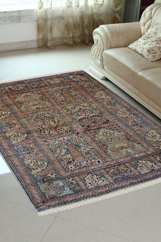 Jewel Boxes Hamadan Silk On Cotton Handmade Rug