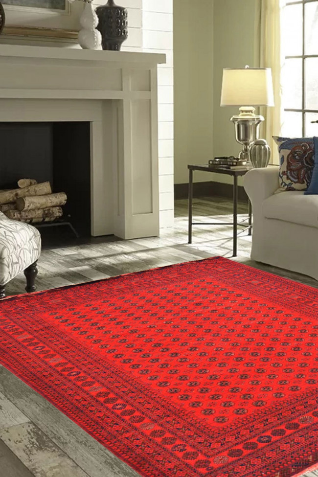 Red Bokhara Handknotted Wool Area Rug