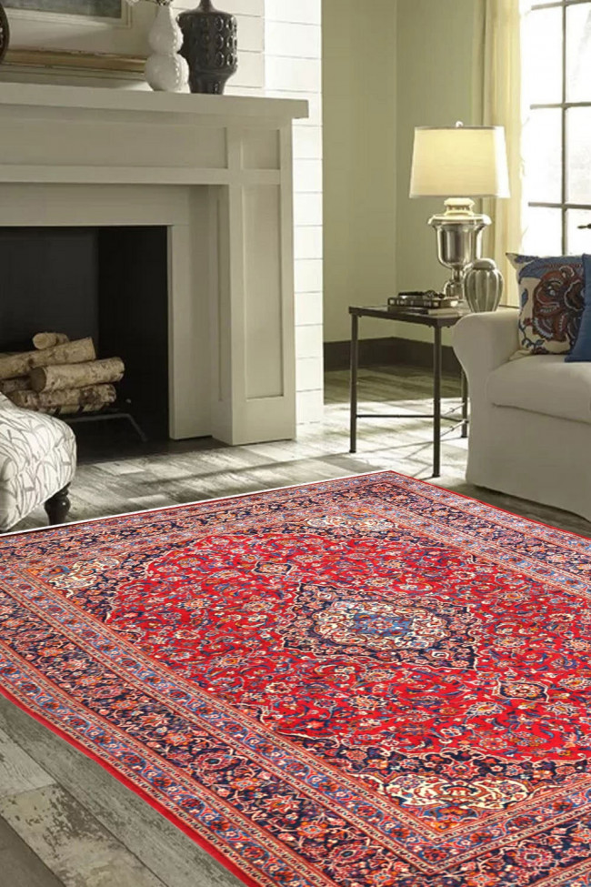 Laal Kashmiri Wool Handknotted Carpet