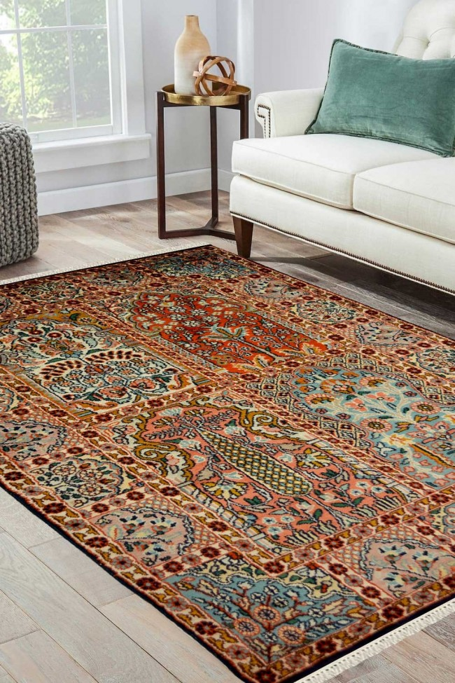 Four Box Hamadan Silk Rug