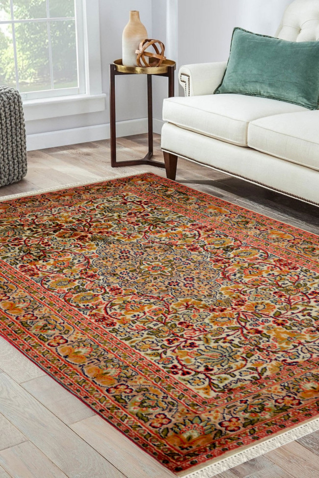Buy Small Gulab Medallion Kashan Silk Area Rugs Online