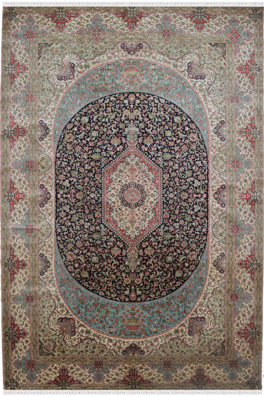 Oval Tabriz Kashmir Pure Silk Handknotted Carpet