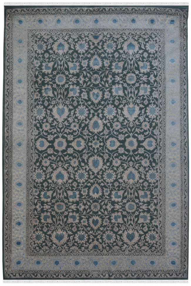 Gray Floral Embossed Area Rug