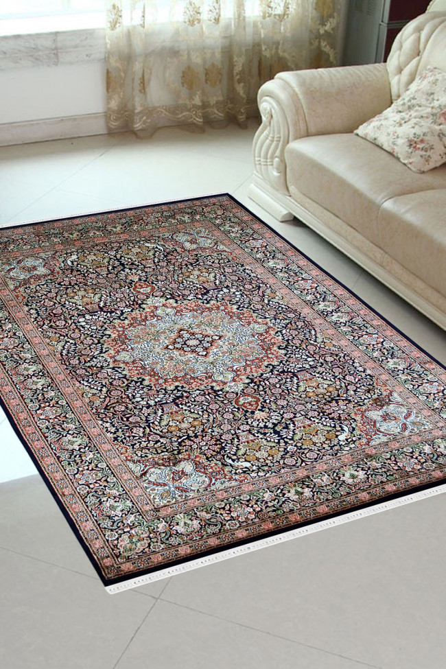 Circular Flora Handknotted Silk Area Rug