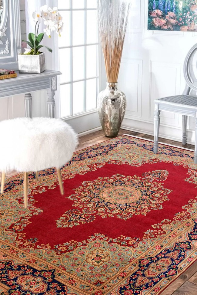 Lal Medallion Kirman Wool Large Area Rug