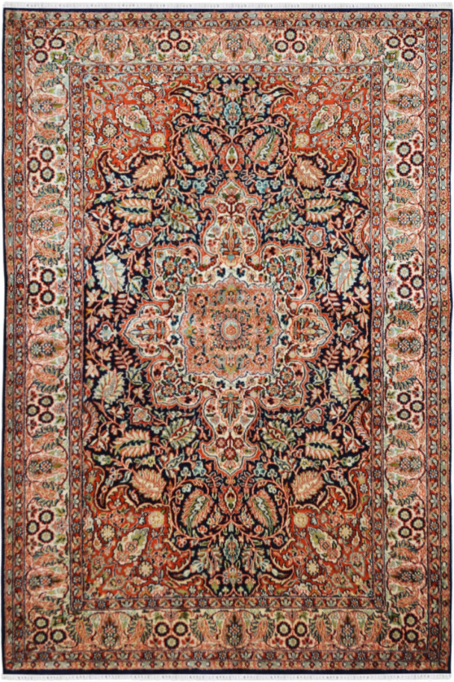 Ivory Mukut Handknotted Silk Area Rug