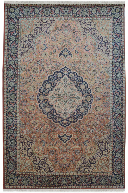 Chandelier Medallion Orange Large Wool Carpet