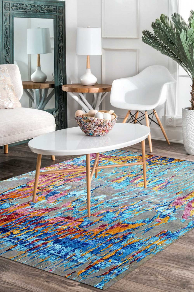 Sky Rainbow Modern Wool Carpet