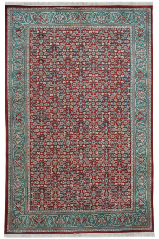 Tabriz Red Green Wool Medium Carpet