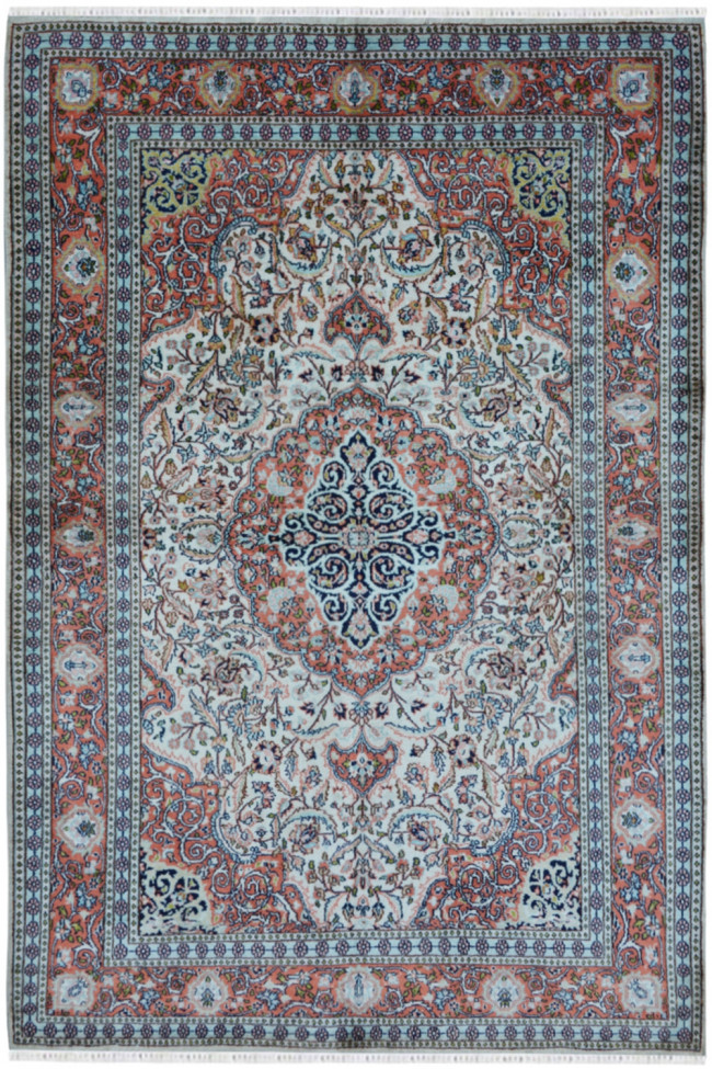 Isfahan Medallion Handknotted Silk Carpet