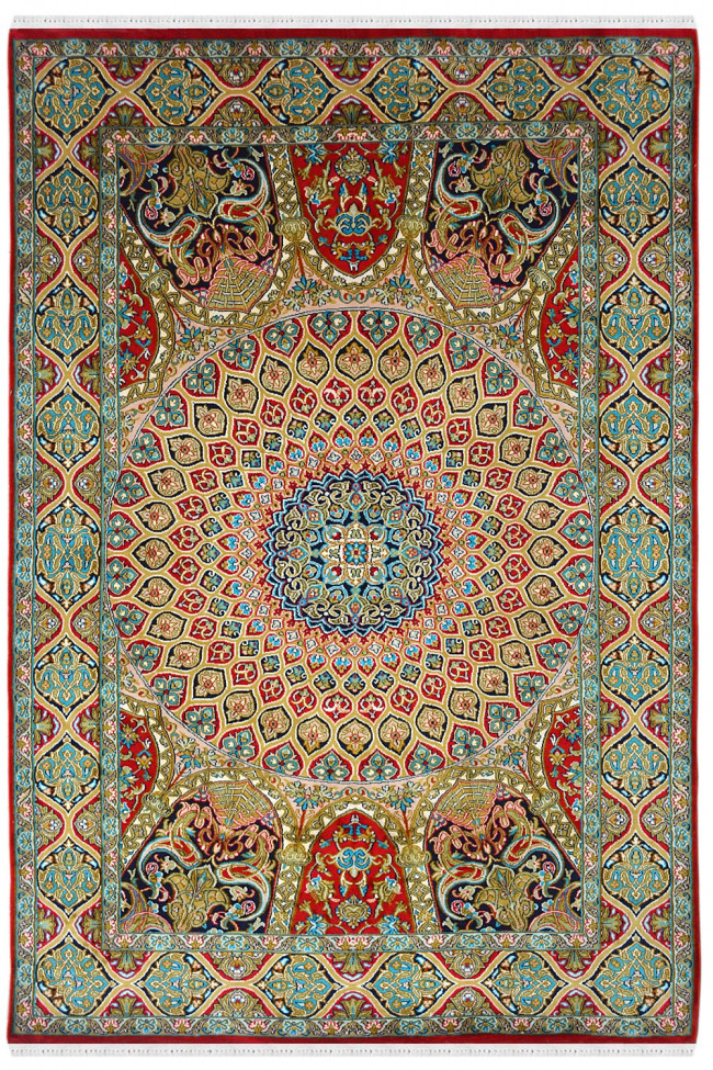 Afreen Ardabil Handknotted Silk Carpet