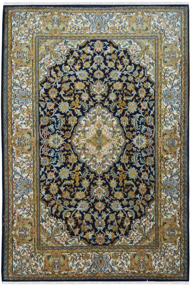 Mehandi Medallion Kashan Silk Carpet