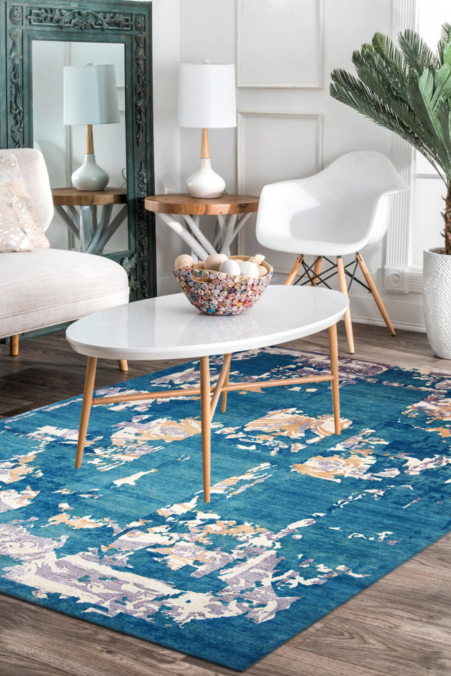 Blue Ocean Handknotted Wool Area Rug