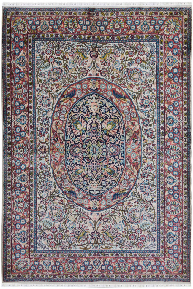 Traditional Mayur Silk on Cotton rug