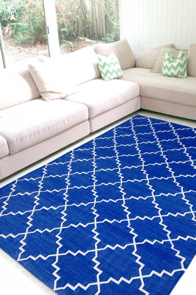 Royal Blue Zanjeer Cotton Panja Handwashable Dhurry Rug