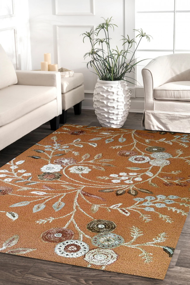 Mustard Floral Hand-tufted Rug