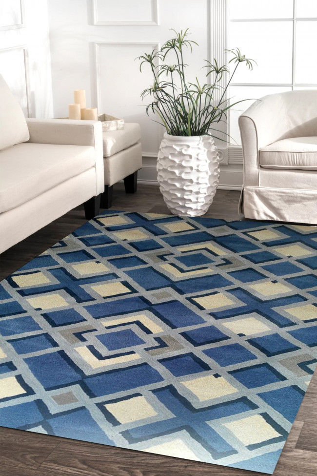 Indigo Diamond Beautiful Handtufted Modern Carpet
