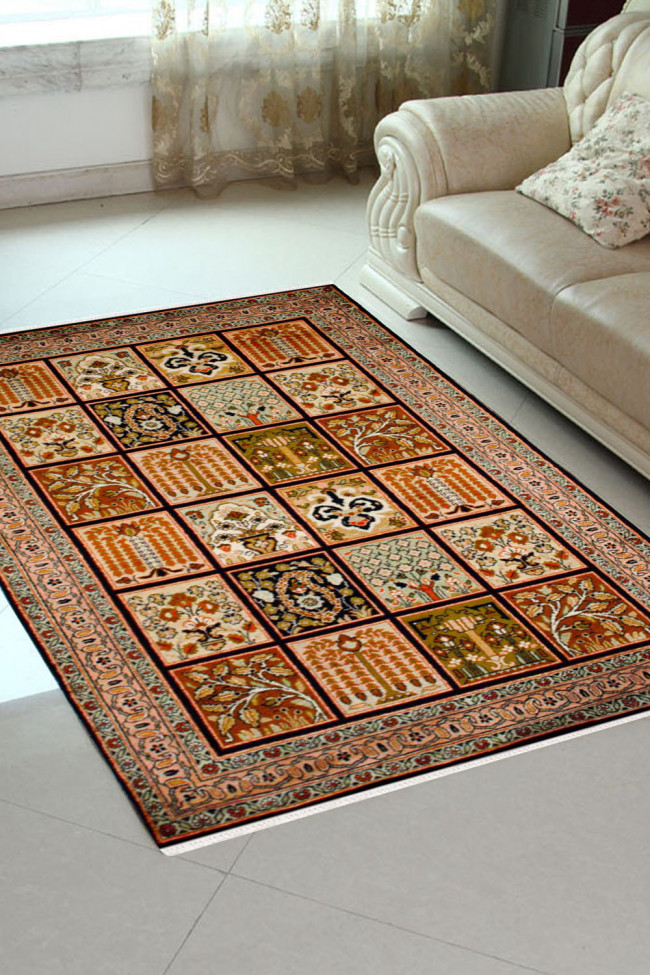 Eye Catching Panel Qum Carpet Silk