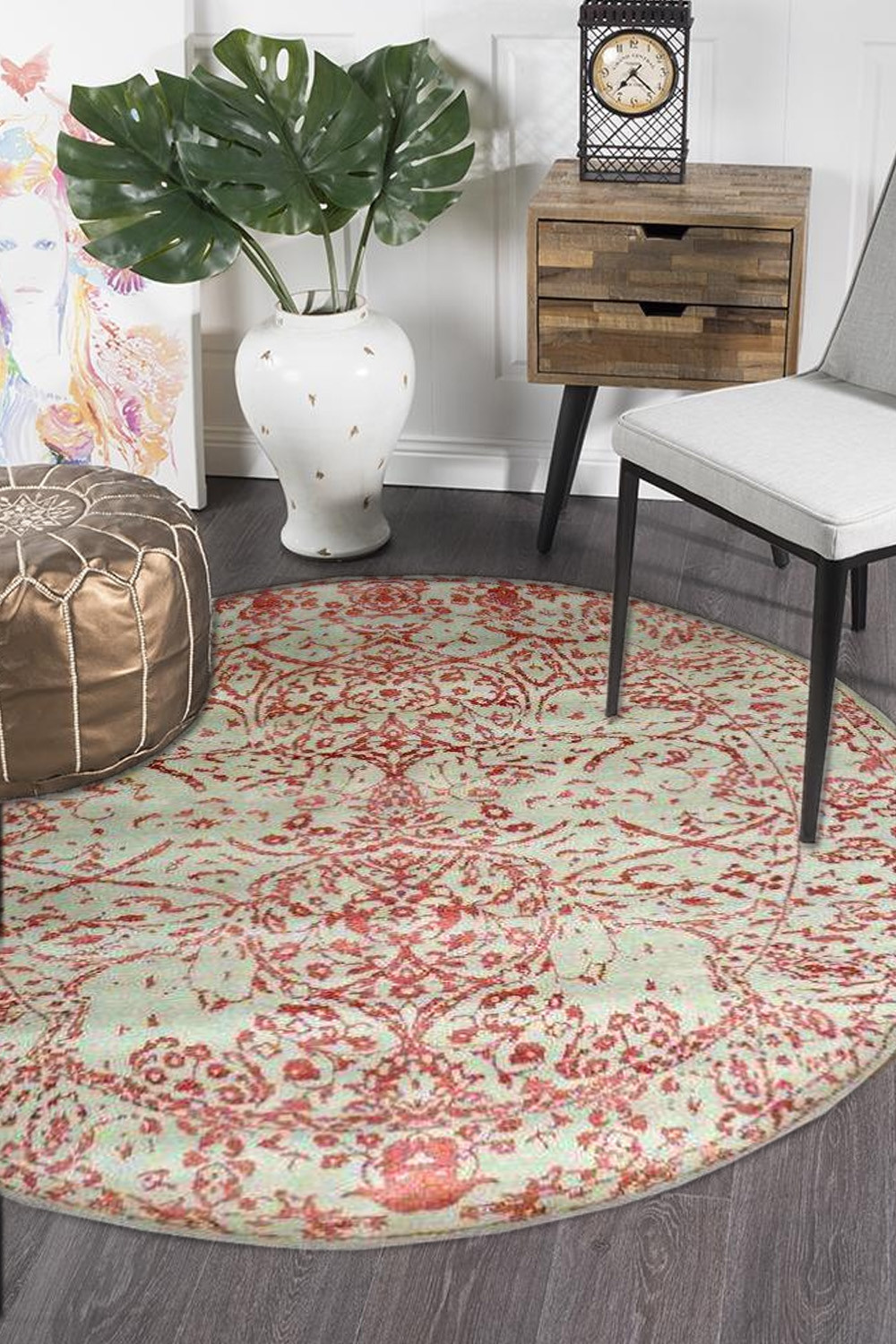 Purchase This Embossed Rust Round Woolen Carpet From Rugs