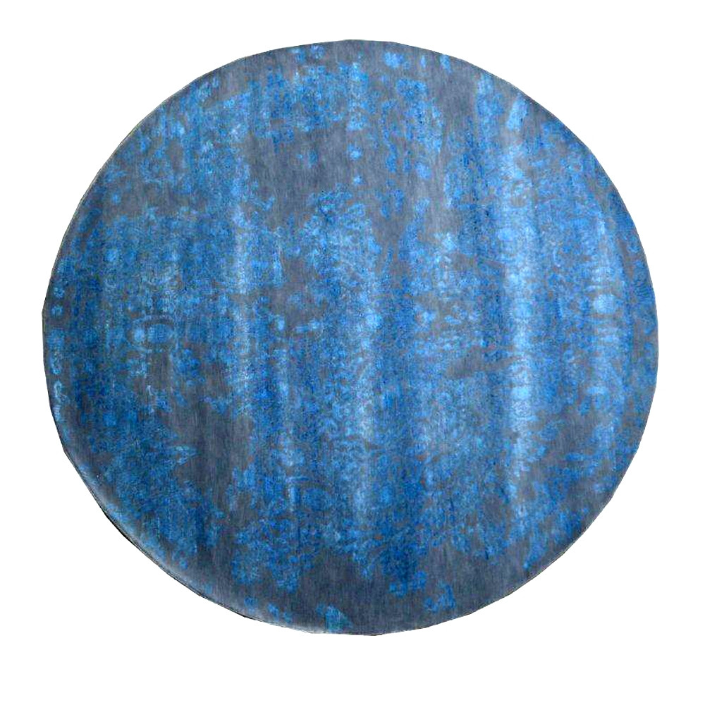 Beautiful Round Full Blue Moon Wool Area Rug At Reasonable Price