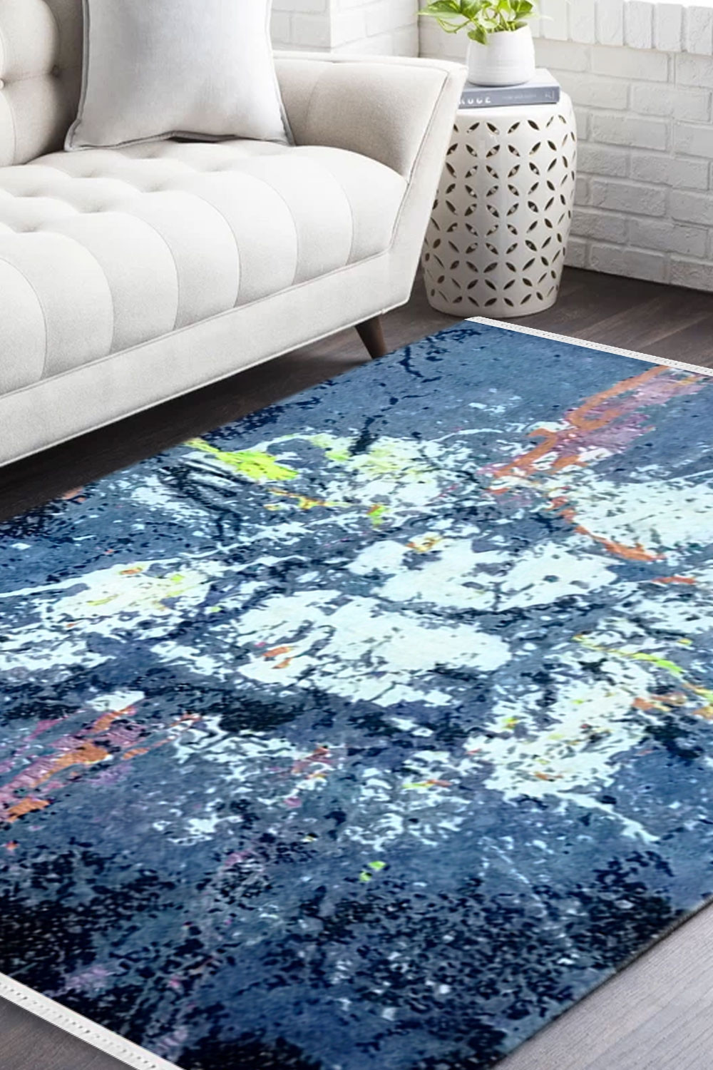 Blue Spray Paint Handmade Wool Area Rug