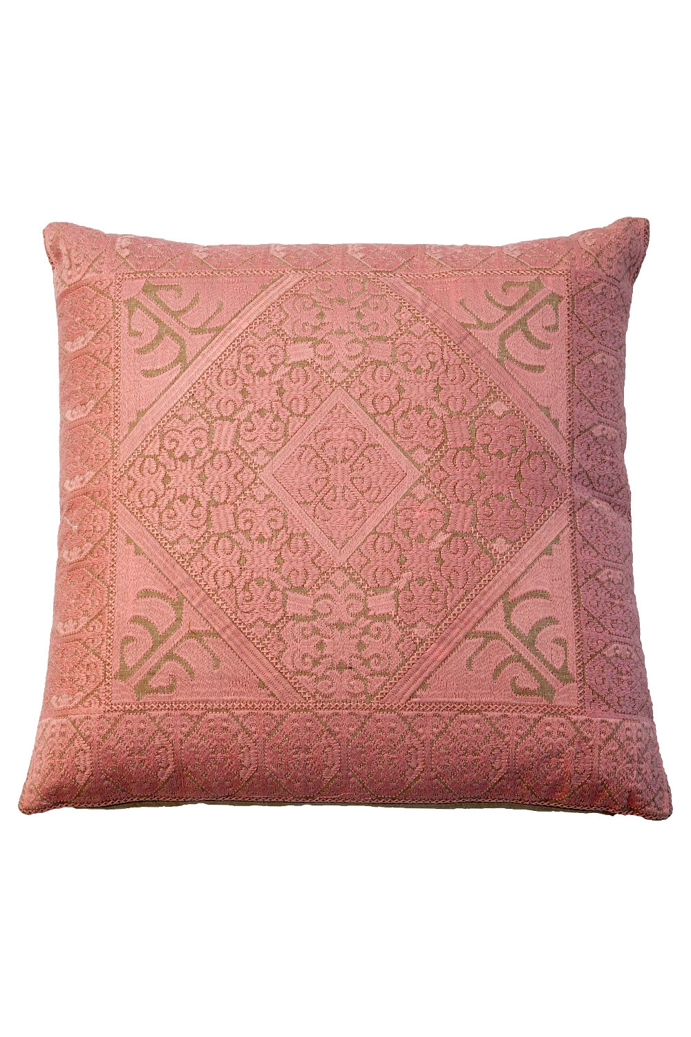 Salmon Pink Cotton Chicken Kaari Pillow Online At Rugs And