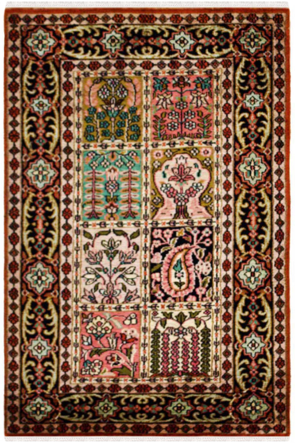 tree silk on handknotted taba qom design qum rug rugs gallery finest life quality animal persian traditional of