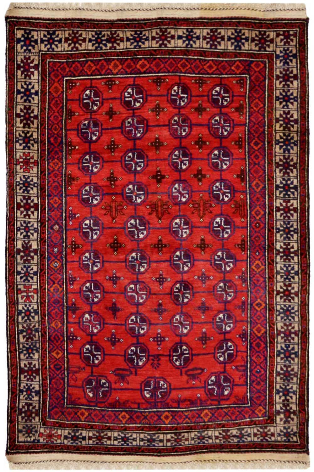 5 X 7 Ivory Rouge Bokhara Afghan Wool Rugs Online At Low Price