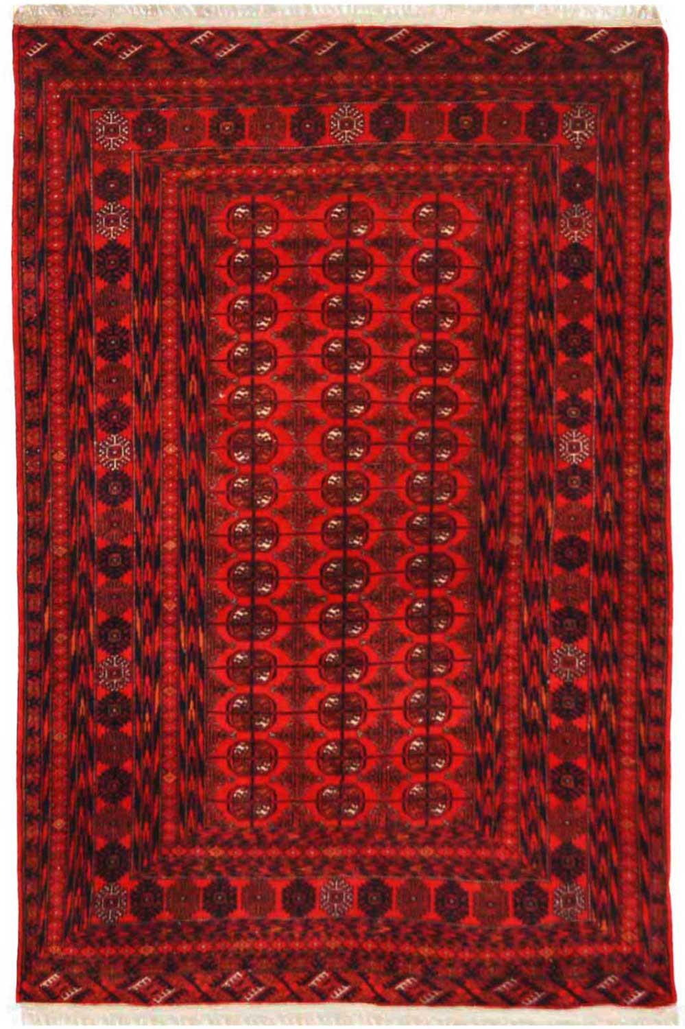 Handmade Afghan Bokhara Rug Online In Red Color At