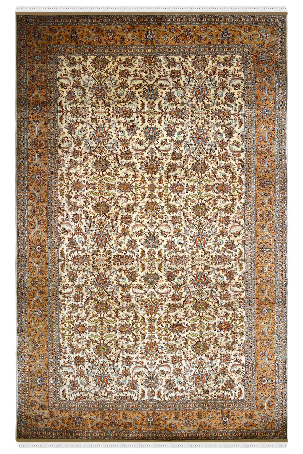 Gold Kashan Border Traditional Silk Rugs And Carpet At