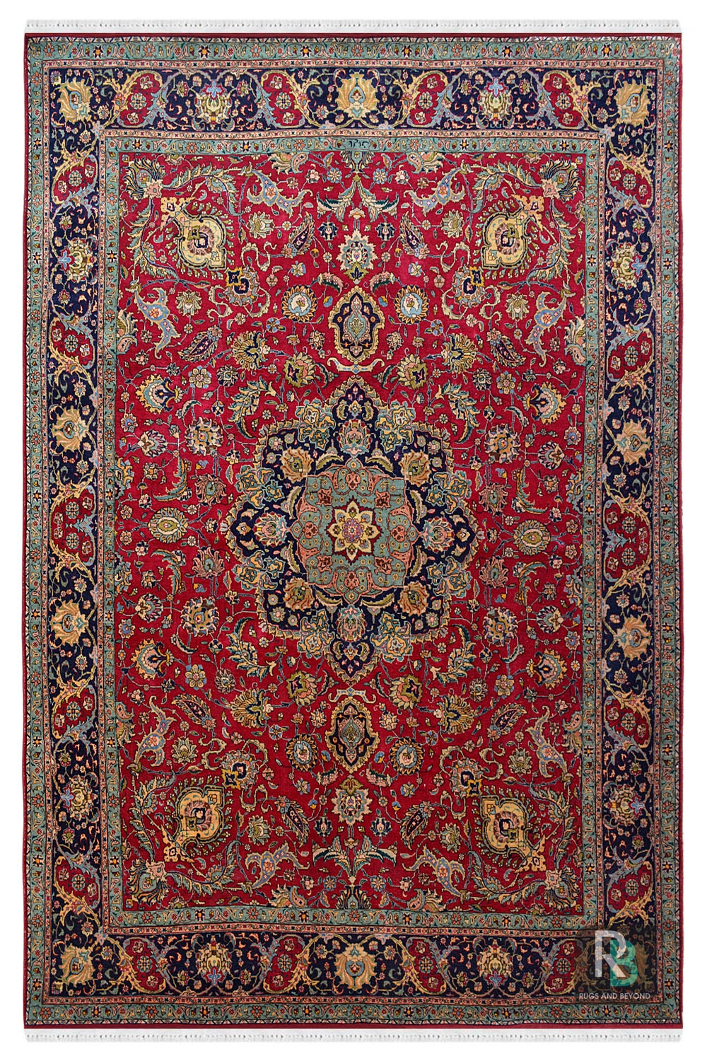 Hand Knotted Red Central Wool Carpet In Pure Wool And Cotton