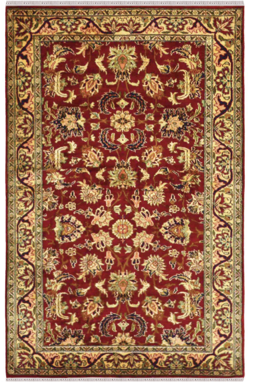 Beautiful Applique Kashan Silk Carpet In Maroon Color At
