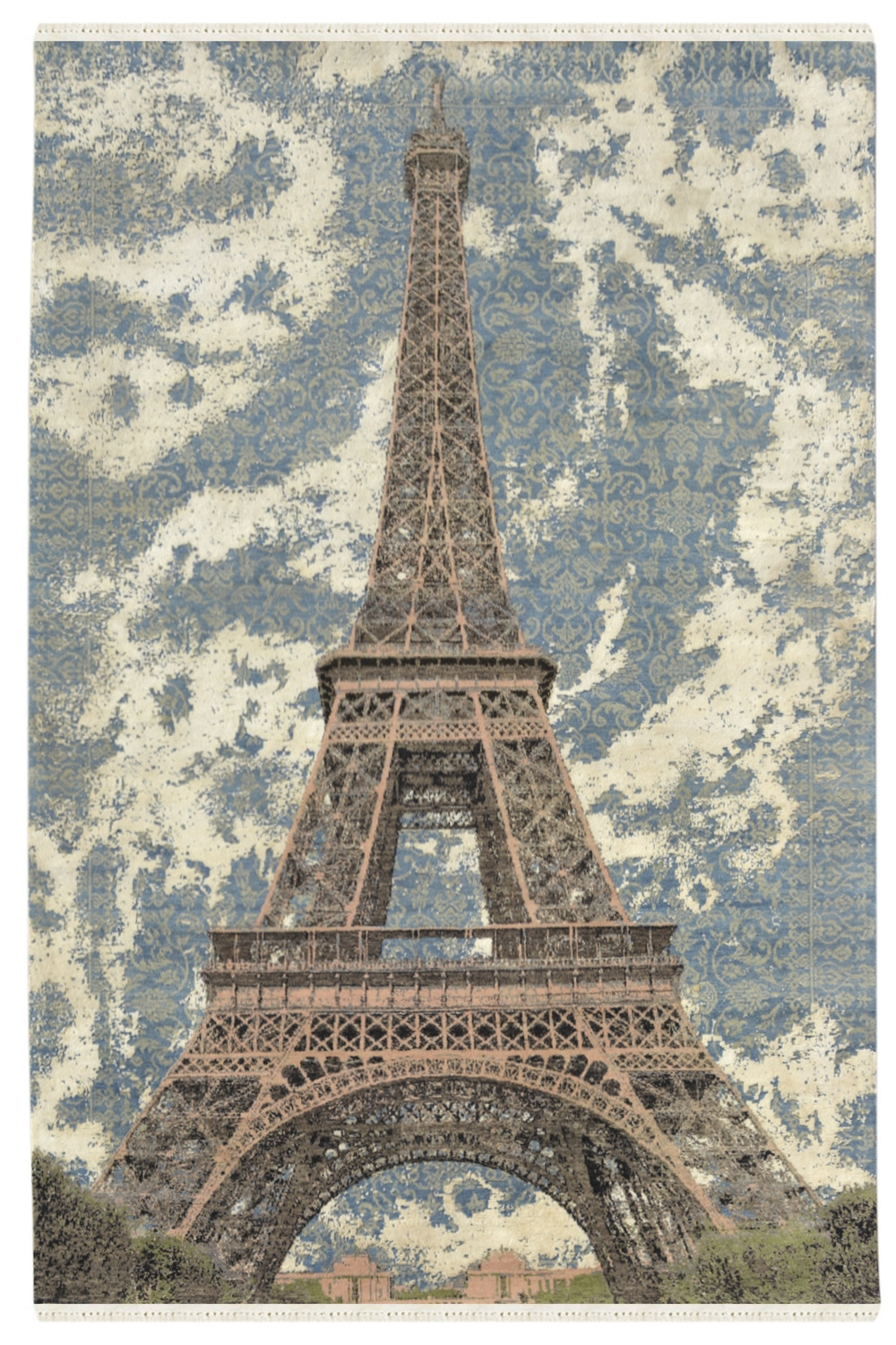 Christmas Rug 5x7 Eiffel Tower Handmade Woolen Carpet