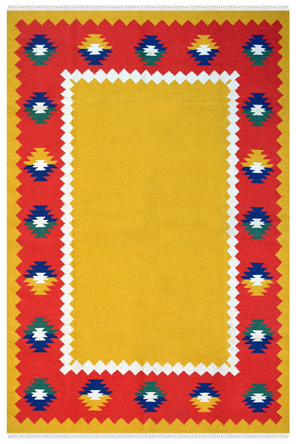 Diamond Border Wool Dhurrie In Solid Design