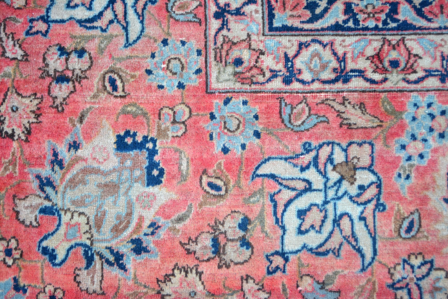Floral Mehandi Kashan Wool Rugs Online With Perfect