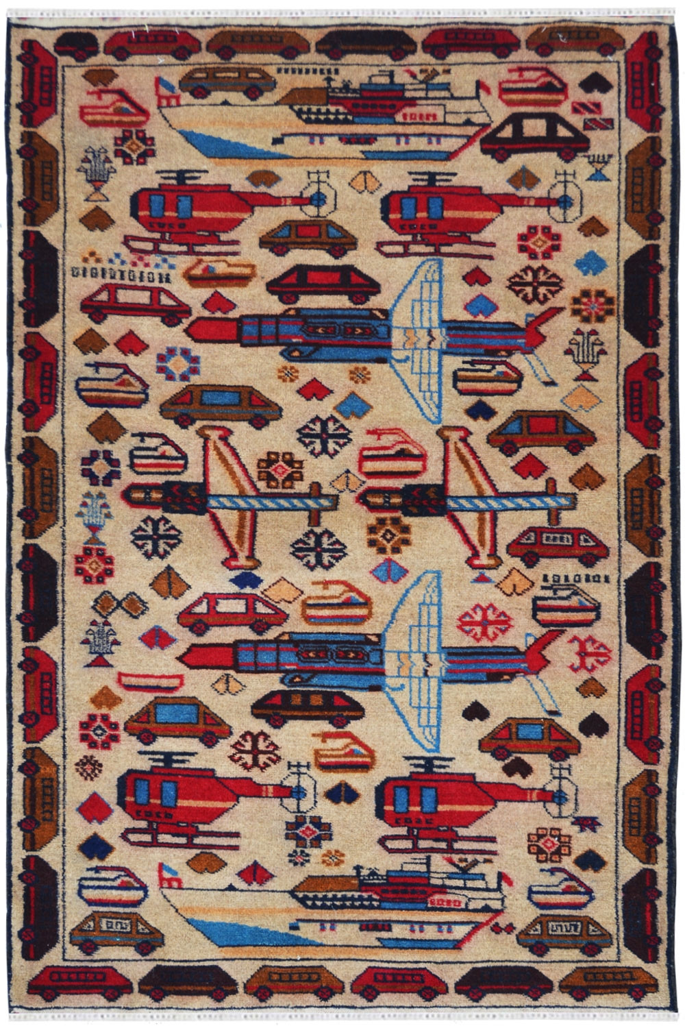 Auto Pictorial Small Wool Carpet