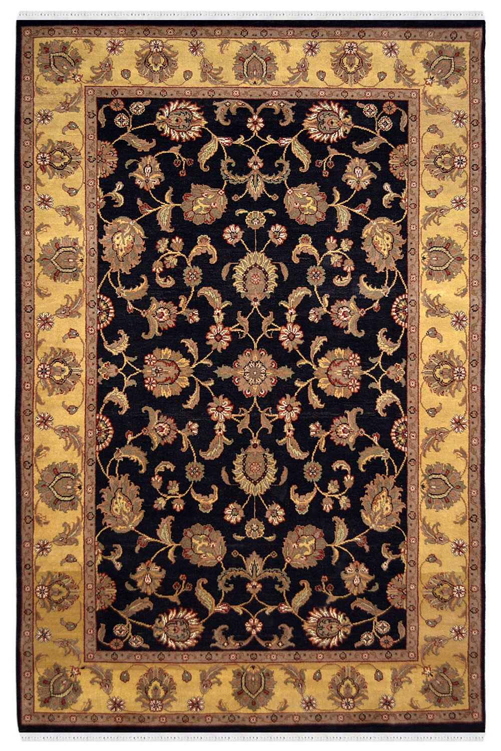 Buy Eye Catchy Floral Jaal Black Hand Knotted Carpet At