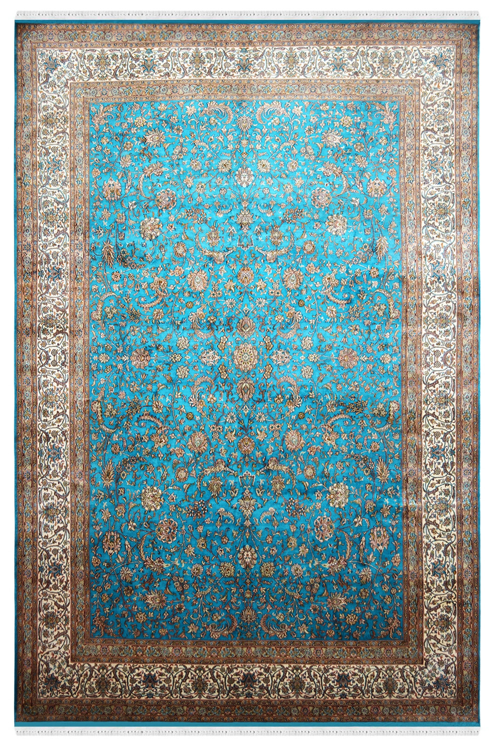 Shop Beautiful Turq Jewel Handknotted Silk Area Rug