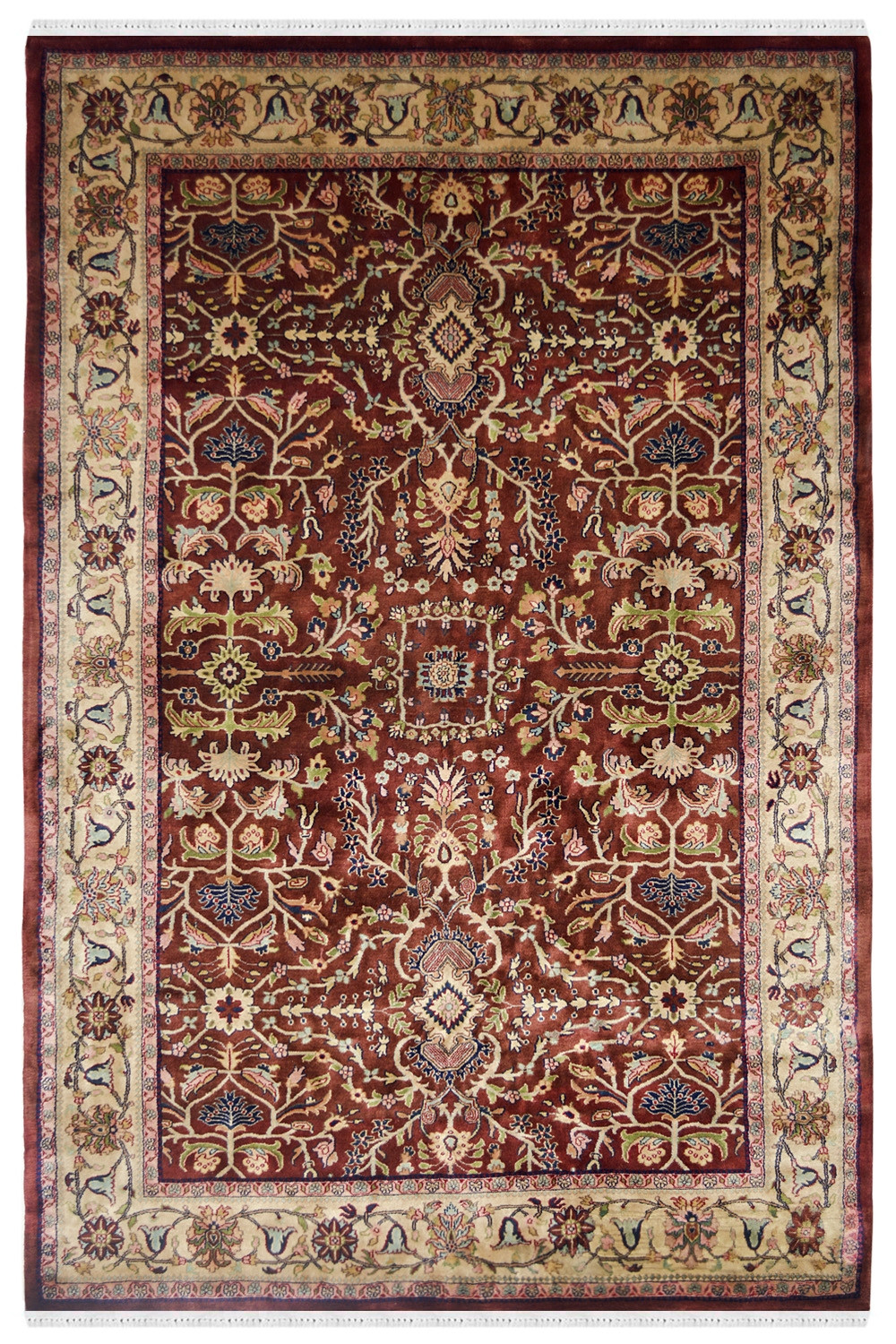 Find Beautiful Traditional Jewel Maroon Handknotted Wool Rug