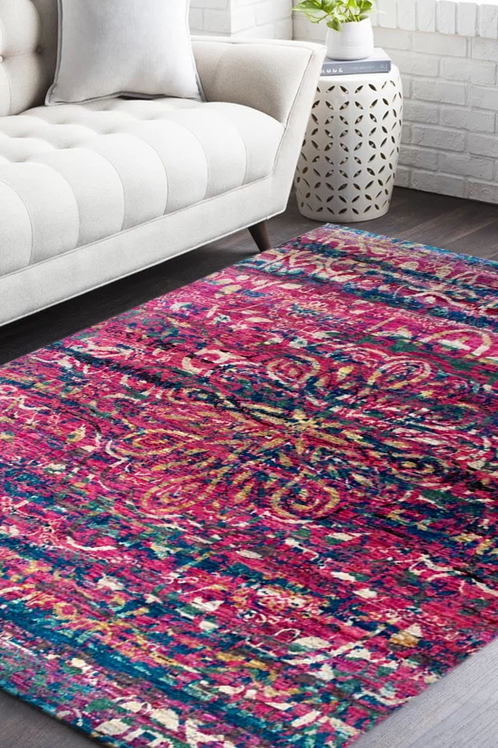 Handknotted Traditional Pink Sari Silk Area Rug